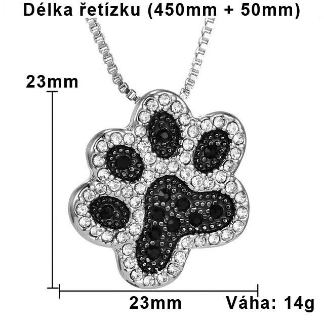 Řetízek kočka packa s kamínky 2 - nausnicekocka.cz